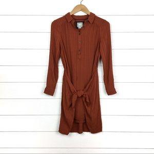 Maeve Bloomsbury Tie Waist Shirtdress Rust Orange